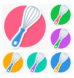 whisk icons with shadow collection vector image vector image
