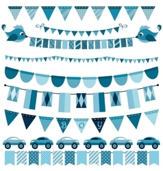 Blue flags bunting and garland set for boys vector image vector image