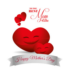 cute red hearts hapy mothers day best mom card vector image