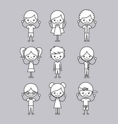 icons set happy kids vector image