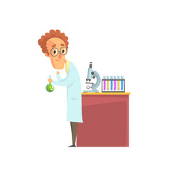 Scientist in white coat conducting experiments vector