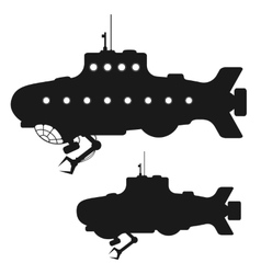 Set of black submarine silhouettes vector image vector image