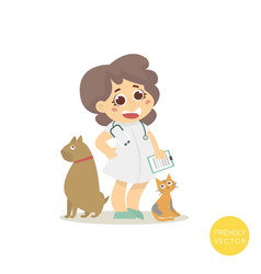 veterinary with dog and cat isolated on white vector image