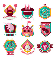 circus flat icons set of clown magic hat vector image