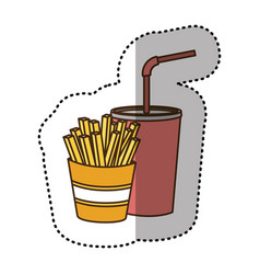 color fries french and soda icon vector image