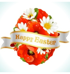 easter egg from flowers vector image vector image