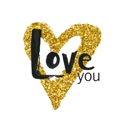 gold glitter heart Greeting card for vector image vector image