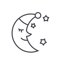 moon face sleep time line icon sign vector image