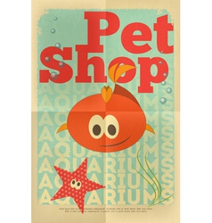 pet shop poster fish vector image vector image