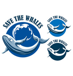 save the whales emblem set vector image vector image
