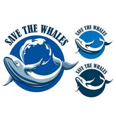 save the whales emblem set vector image