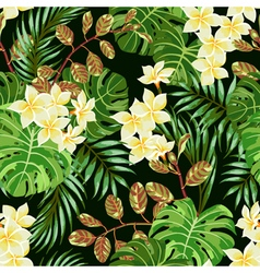 Seamless exotic pattern with tropical leaves and f vector image vector image