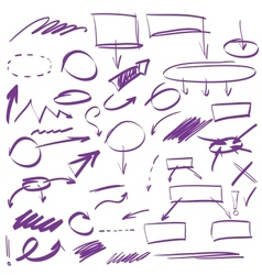 Set of many hand-drawn arrows isolated vector