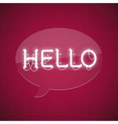 White Glowing Neon Message Hello vector image