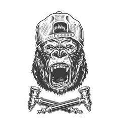 Angry gorilla head in hipster cap vector
