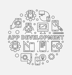 app development round in thin vector image