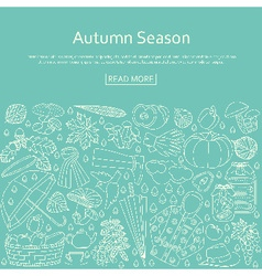 Autumn background made of many line icons vector