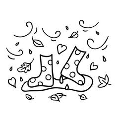 Autumn rubber boots black outline doodle sketch vector