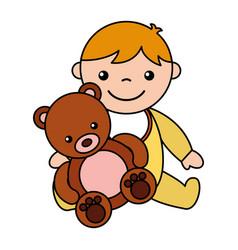 baby boy bear teddy toys vector image