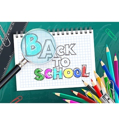 Back to school background with colorful pencils vector image