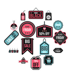 black friday icons set flat style vector image