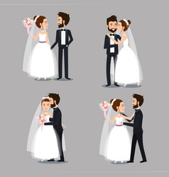 bride and groom set wedding couples romantic vector image