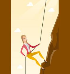 Business woman climbing on the mountain vector