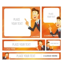 Businessman character says bubble Banner set vector