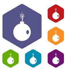 Cannonball icons set hexagon vector