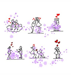 cartoon hand-drawn love vector image