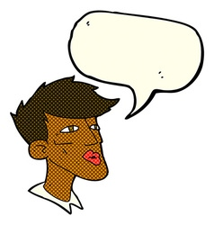 Cartoon male model guy with speech bubble vector