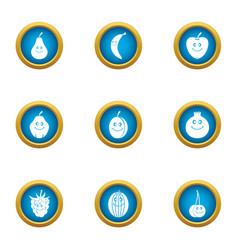 cherry icons set flat style vector image