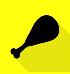 Chicken leg sign black icon with flat style vector