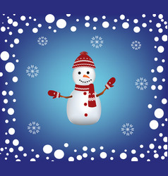 christmas card with a snowman and snow border vector image