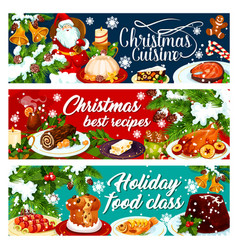Christmas dinner banner with winter holiday food vector