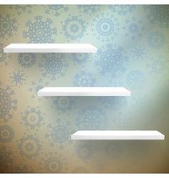 Christmas shelfs with wood floor EPS 10 vector image