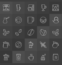Coffee outline icons on dark background vector