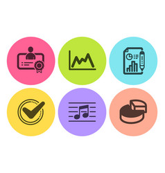 Confirmed report document and certificate icons vector