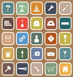Construction flat icons on brown background vector image