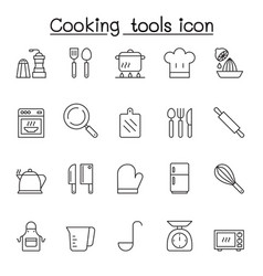cooking tools icon set in thin line style vector image