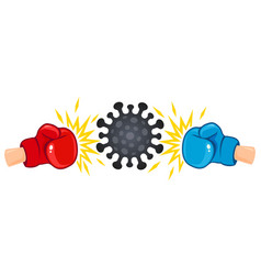 coronavirus vs boxing gloves vector image