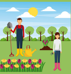 Couple gardeners with tools and flowers tree field vector