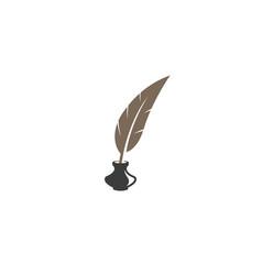 Creative abstract feather ink bottle logo design vector