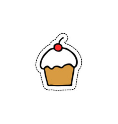 cupcake doodle icon vector image