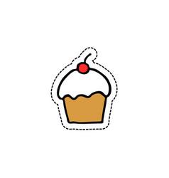 Cupcake doodle icon vector