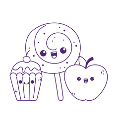 Cute apple candy in stick and cupcake kawaii vector