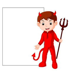 Cute devil cartoon with blank sign vector