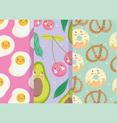 Cute food pattern design fruit bakery sweet vector