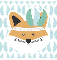 Cute fox with feathers hat bohemian style vector