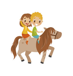 cute litlle boy and girl riding a horse vector image